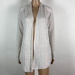 Tahari Cardigan 100% Linen Light Weight Open Front